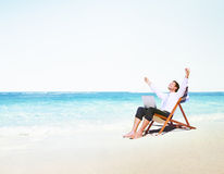 Businessman Holiday Working Business Travel Beach Concept Royalty Free Stock Photos