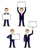 Businessman hollds white board, signboard. Businessman holds white board, signboard. Cartoon man showing empty copy space. Vector illustration Royalty Free Stock Images