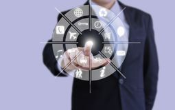 Businessman Holographic touch intelligence royalty free stock photography
