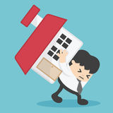 Businessman home loan liability. real estate value  illustration Royalty Free Stock Images
