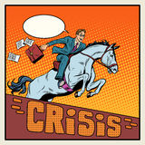 Businessman on a horse jumping barrier crisis Royalty Free Stock Photo