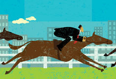 Businessman horse racing. Businessman in a horse race to achieve his goal. The businessman and horses are on a separate labeled layer from the background Stock Image