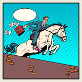 Businessman horseman on horse jumps over barrier. Pop art style retro. The business concept. Business success Royalty Free Stock Photo