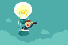 Businessman in hot air balloon searching for opportunity. Successful businessman with spyglass in hot air balloon searching for new business opportunity royalty free illustration