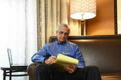 Businessman Hotel Room Working Stock Images