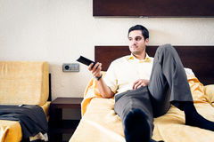 Businessman In Hotel Room Royalty Free Stock Images