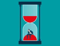 Businessman in hourglass. Concept business illustration. Vector flat Royalty Free Stock Photo