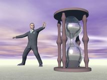 Businessman and hourglass - 3D render Royalty Free Stock Photos