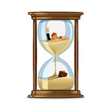Businessman in hourglass. Deadline concept design. Businessman be trapped in hourglass and sinking in sand. Expired deadline, business time management, time is Stock Image