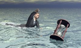 Businessman and hourglass sinking - 3D render Royalty Free Stock Image