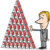 Businessman and house of cards cartoon Royalty Free Stock Images