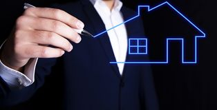 Businessman house draw.  stock photography