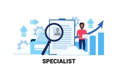 Businessman hr using laptop searching resume specialist candidate vacancy job business concept flat horizontal african Stock Illustration