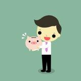 Businessman hug piggy bank. Businessman hug full piggy bank with happy emotion on green background Stock Image