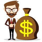 Businessman with a huge bag full of money, vector Stock Photos