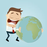 Businessman is hugging the earth Stock Images