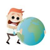 Businessman is hugging the earth. Illustration of a businessman is hugging the earth Stock Photos
