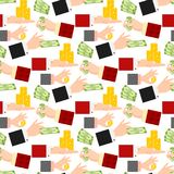 Businessman human hands arm holding paper money stack vector illustration finance seamless pattern background Stock Images