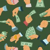 Businessman human hands hold paper money backs seamless pattern background vector illustration. Businessman human hands hold paper money backs vector Stock Image