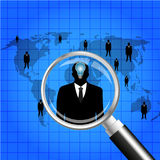 Businessman human resources hold a magnifying glass for choosing the right person on word map for international best position.Vect Stock Images