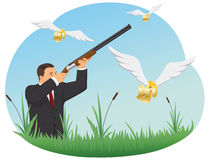 Businessman is hunting for dollar. Businessman with a rifle is hunting for dollar signs with wings Royalty Free Stock Images