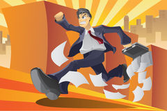 Businessman in a hurry. A illustration of a businessman running in a hurry vector illustration