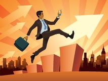 Businessman in a hurry. Vector illustration of a young businessman in a hurry vector illustration