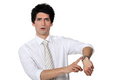 Businessman in the hurry. stock image