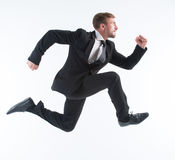 Businessman in hurry Royalty Free Stock Image