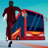 Businessman in a hurry for the passenger bus Stock Photography