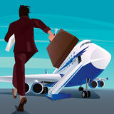 Businessman in a hurry for the passenger plane Royalty Free Stock Images