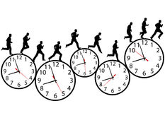 Businessman in a hurry runs on time clocks. A business man runs in a hurry runs on time. Through the business day on a row of time clocks. Animation-like stock illustration