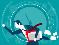 Businessman in a hurry time. Concept business illustration. Vect Stock Photography