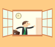 Businessman hurry to work. Successful businessman hurry to work and clock stock illustration