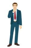 Businessman. Hush hush. Businessman making hush sign. Vector illustration Stock Photos