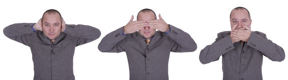 Businessman - I don't hear, see, say Royalty Free Stock Images