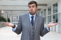 Businessman with `I have no idea` expression Royalty Free Stock Photos