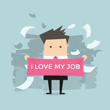 Businessman with I love my job Royalty Free Stock Photo