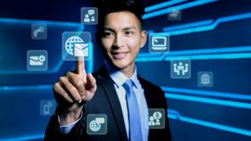 Businessman with icon stock photography