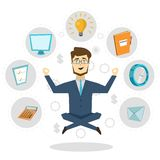 Businessman Icon Concept Poster. Concept poster with businessmen flying in lotus position and office decorative icons around vector illustration Stock Photo