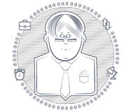 Businessman. Icon man with glasses surrounded by infographics royalty free illustration