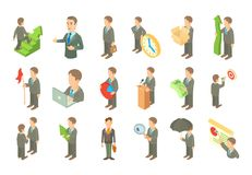 Businessman icon set, cartoon style. Businessman icon set. Cartoon set of businessman vector icons for web design isolated on white background Royalty Free Stock Photos
