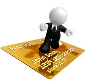Businessman icon surfing on credit card Stock Photography