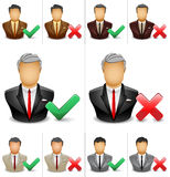 Businessman icon with tick and cross symbol. Vector Illustration of a Businessman  with a thick and cross symbol Stock Image