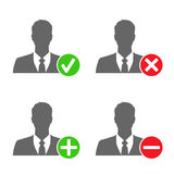 Businessman icons with add, delete, accept & block signs Stock Photo