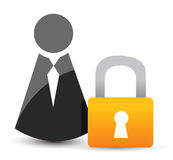 Businessman icons with padlock. Stock Photos