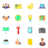 Businessman icons set, cartoon style Stock Photos