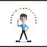 Businessman and icons set Stock Images