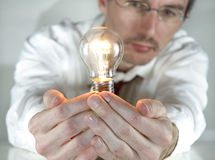 Businessman with an idea Stock Images