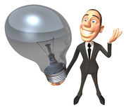 Businessman with an idea. Businessman with a light bulb, 3d generated Stock Image